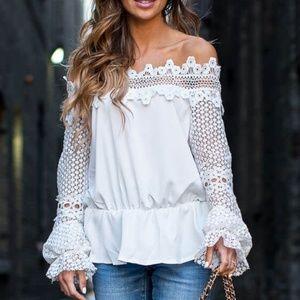 Style Mafia Naza White Lace Top Small